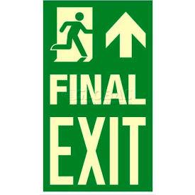 "Photoluminescent Final Exit ""Man Right/Arrow Up"" NYC Mea-Listed Aluminum Sign"