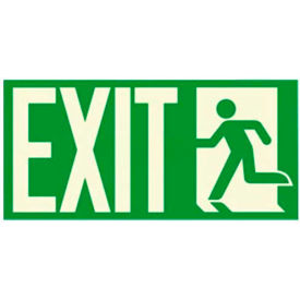 """Photoluminescent """"Man To Left Exit"""" NYC-Mea-Listed Aluminum Sign"""
