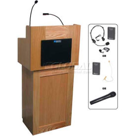 Oxford UHF Wireless 2 Piece Podium / Lectern - Oak