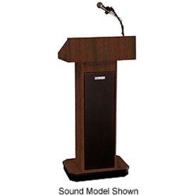 Executive Adjustable non-sound Column Podium / Lectern - Walnut