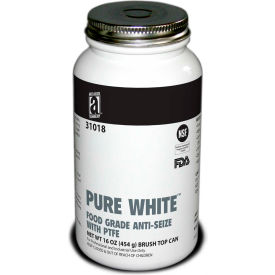 PURE WHITE™ Food Grade Anti Seize w/PTFE 475°F, 1 Lb. Brush Top 12/Case - 31018 - Pkg Qty 12