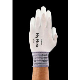 HyFlex® Lite Polyurethane Coated Gloves, ANSELL 11-600-7, White, Size 7, 1 Pair - Pkg Qty 12