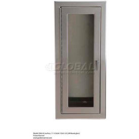 "Alta Extinguisher Cabinet, Full Tempered Safety Glass, SS, Surface Mt, 11-1/2""L x 26-1/2""H x 5-3/4""D"