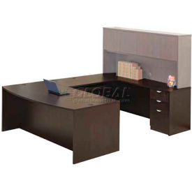 "Stellar Bowfront U-Shaped Desk (Reversible), 72""W x 114""D x 30""H, Deep Espresso"