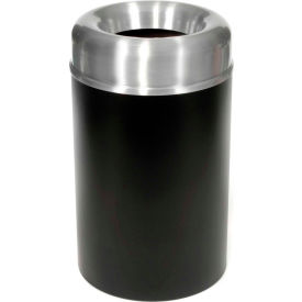 Rubbermaid® AOT15SABK Crowne Open Top 15 Gal. Trash Can w/Plastic Liner - Satin Aluminum/Black