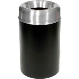 Rubbermaid® AOT15SABK Crowne Open Top 15 Gal. Trash Can w/Plastic Liner - Satin Aluminum/Black