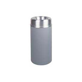 Rubbermaid® AOT15SAGR Crowne Open Top 15 Gallon Container w/Plastic Liner - Satin Aluminum/Gray