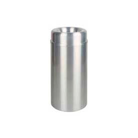 Rubbermaid® AOT15SA Crowne Open Top 15 Gallon Trash Can w/Plastic Liner - Satin Aluminum