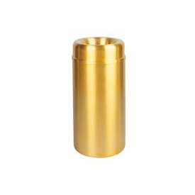 Rubbermaid® AOT15SB Crowne Open Top 15 Gallon Receptacle w/Plastic Liner - Satin Brass