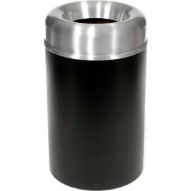 Rubbermaid® AOT30SABK Crowne Open Top 30 Gal. Receptacle w/Plastic Liner - Satin Aluminum/Black