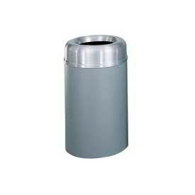 Rubbermaid® AOT30SAGR Crowne Open Top 30 Gal. Receptacle w/Plastic Liner - Satin Aluminum/Gray