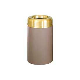 "Open Top Receptacle, Satin Aluminum And Brown, 30 gal. cap, 20""Dia x 34.5""H."