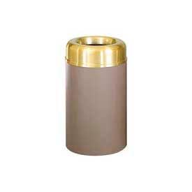 Rubbermaid® AOT30SBBR Crowne Open Top 30 Gal. Receptacle w/Plastic Liner - Satin Aluminum/Brown