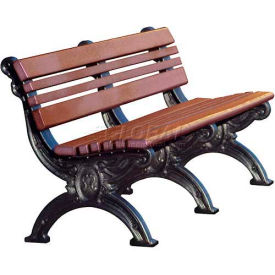 Polly Products Cambridge 6 Ft. Backed Bench, Brown Bench/Black Frame