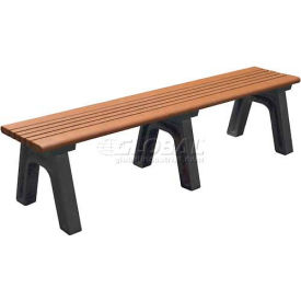 Polly Products Cambridge 6 Ft. Flat Bench, Cedar Bench/Brown Frame