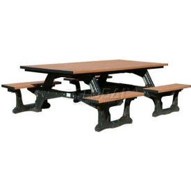 Polly Products Commons Table ADA Compliant, Weathered Top/Black Frame