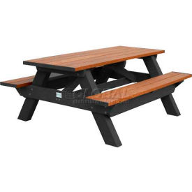 Polly Products Deluxe 6' Picnic Table, Cedar Top & Bench/Black Frame