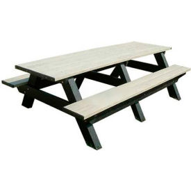 Polly Products Deluxe 8' Picnic Table, Green Top & Bench/Black Frame