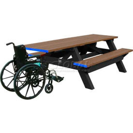 Polly Products Deluxe 8' Picnic Table ADA Compliant, Weathered Top & Bench/Black Frame