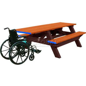 Polly Products Deluxe 8' Picnic Table ADA Compliant, Cedar Top & Bench/Brown Frame