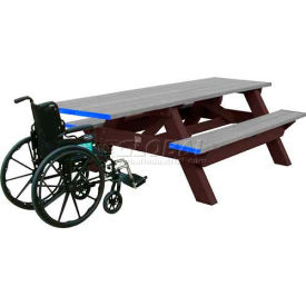 Polly Products Deluxe 8' Picnic Table ADA Compliant, Gray Top & Bench/Brown Frame