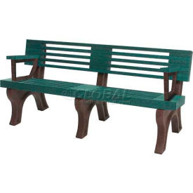 Polly Products Elite 6 Ft. Backed Bench with Arms, Cedar Bench/Brown Frame