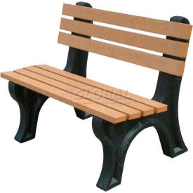 Polly Products Econo-Mizer 4 Ft. Backed Bench, Cedar Bench/Black Frame