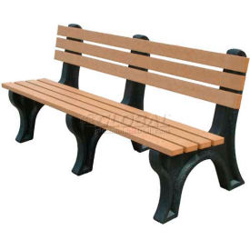 Polly Products Econo-Mizer 6 Ft. Backed Bench, Cedar Bench/Black Frame