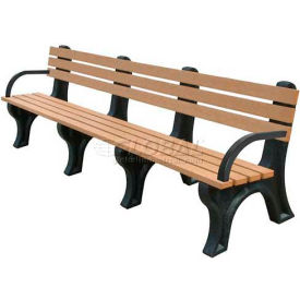 Polly Products 1 x Polly Products Econo-Mizer 8 Ft. Backed Bench with Arms, Brown Bench/Black Frame