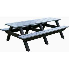 Polly Products Econo-Mizer Space Saver 8' Picnic Table, Cedar Top/Black Frame