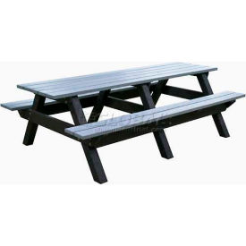 Polly Products Econo-Mizer Space Saver 8' Picnic Table, Weathered Top/Black Frame