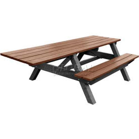 Polly Products Econo-Mizer Handicap Access 8' Picnic Table, Brown Top/Black Frame