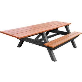 Polly Products Econo-Mizer Handicap Access 8' Picnic Table, Cedar Top/Black Frame