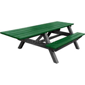 Polly Products Econo-Mizer Handicap Access 8' Picnic Table, Green Top/Black Frame