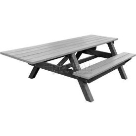 Polly Products Econo-Mizer Handicap Access 8' Picnic Table, Gray Top/Black Frame