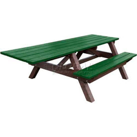 Polly Products Econo-Mizer Handicap Access 8' Picnic Table, Green Top/Brown Frame