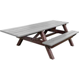 Polly Products Econo-Mizer Handicap Access 8' Picnic Table, Gray Top/Brown Frame