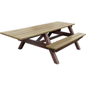 Polly Products Econo-Mizer Handicap Access 8' Picnic Table, Weathered Top/Brown Frame