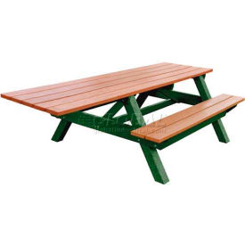 Polly Products Econo-Mizer Handicap Access 8' Picnic Table, Cedar Top/Green Frame