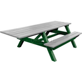 Polly Products Econo-Mizer Handicap Access 8' Picnic Table, Gray Top/Green Frame