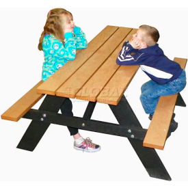 Polly Products Econo-Mizer Youth 5' Picnic Table, Cedar Top/Black Frame