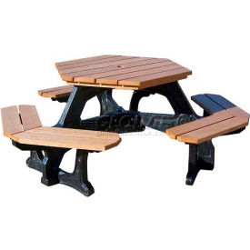Polly Products Econo-Mizer Plaza Hexagon Table, Weathered Top/Black Frame