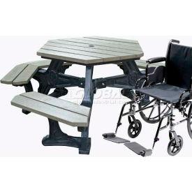Polly Products Econo-Mizer Plaza Handicap Access Hexagon Table, Gray Top/Black Frame