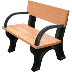 Polly Products Landmark 4 Ft. Backed Bench with Arms, Cedar Bench/Black Frame