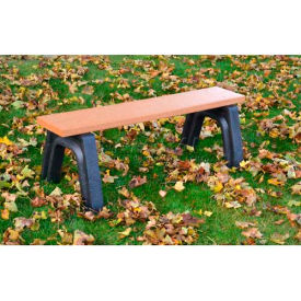 Polly Products Landmark 4 Ft. Flat Bench, Cedar Bench/Black Frame