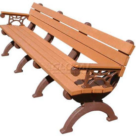 Polly Products Monarque 8 Ft. Backed Bench with Arms, Green Bench/Brown Frame