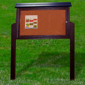 """Polly Products Medium Message Center - 1 Sided/2 Posts, Brown, 40""""W x 30""""H"""