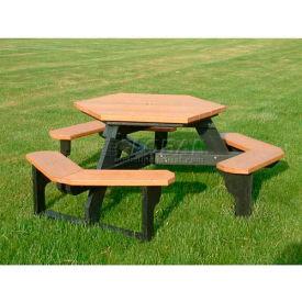 Polly Products Open Hexagon Table, Cedar Top/Black Frame