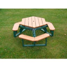 Polly Products Open Hexagon Table, Cedar Top/Green Frame