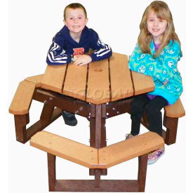 Polly Products Open Hexagon Youth Table, Brown Top/Brown Frame